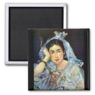 Portrait of Marguerite de Conflans by Manet Square Magnet