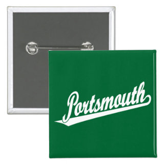 Portsmouth script logo in white 15 cm square badge