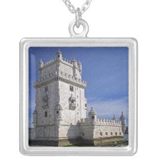 Portugal, Lisbon. Belem Tower, a UNESCO World Square Pendant Necklace