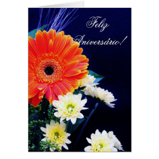 Portuguese Birthday card with flowers