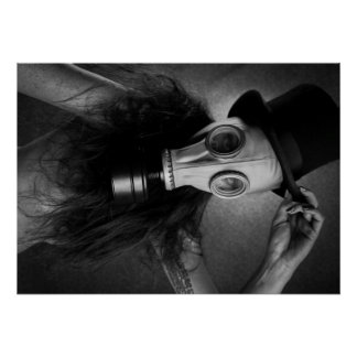 post-apocalyptic steam punk gas mask girl poster