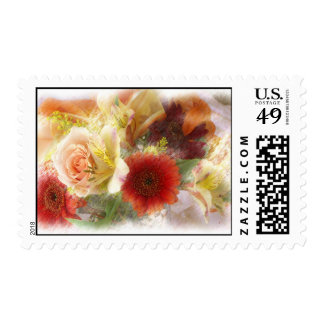 Postage stamp for letters Orange and yellow flower