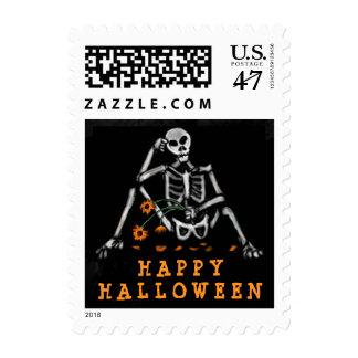 Postage Stamp - Halloween Skeleton Orange Flowers