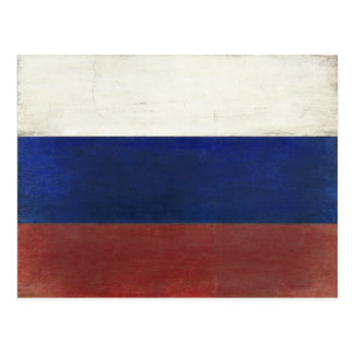 Postcard with Dirty Vintage Flag from Russia