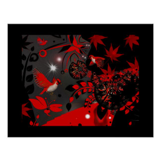 Poster Asian Red Birds