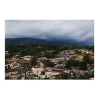 Poster Painting Haiti City Slum & Mountains