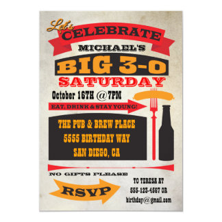 Poster style BIG 30 birthday party invitations
