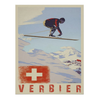 Poster with Switzerland Vintage Ski Print