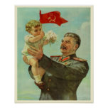 Poster with Vintage Stalin Propaganda Print