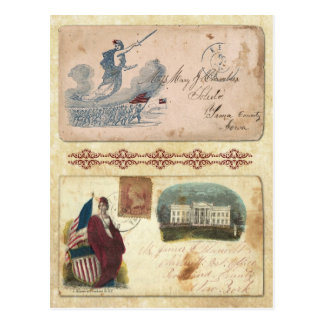 Postmarked Civil War Envelopes featuring Columbia Postcard