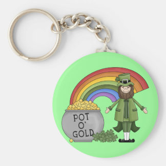 Pot of Gold Leprechaun Basic Round Button Key Ring