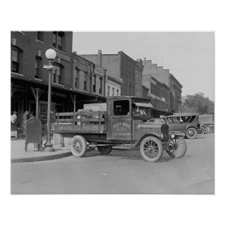Poultry Delivery Truck, 1926. Vintage Photo Poster
