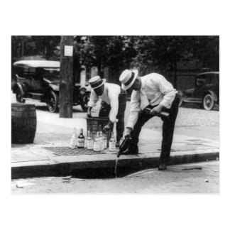 Pouring Whiskey Into a Sewer, 1930 Postcard