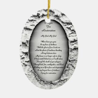 Prayer for Restoration Ceramic Oval Decoration