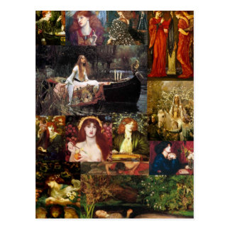 Pre-Raphaelite Collage Postcard