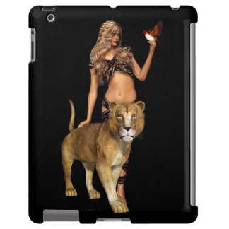 Prehistoric Fantasy Girl and Lion iPad Case
