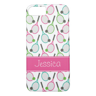 Preppy Pink Green Teal Tennis Pattern Personalized iPhone 7 Case