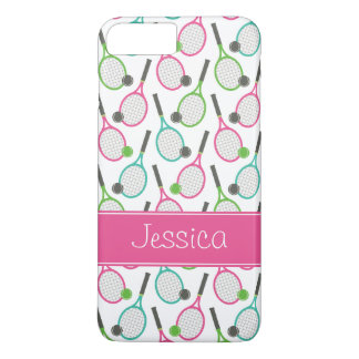 Preppy Pink Green Teal Tennis Pattern Personalized iPhone 7 Plus Case