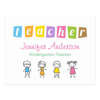 Preschool Teacher Cute Pencil Illustrations Postcard
