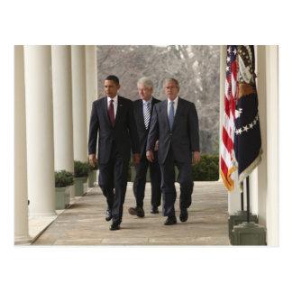 President Barack Obama and former presidents Postcard