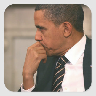 President Barack Obama meets with President Square Sticker