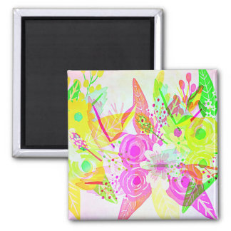 Pretty Abstract Neon Floral Pattern Square Magnet