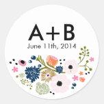 Pretty Bouquet Floral Wedding Circle Sticker Navy