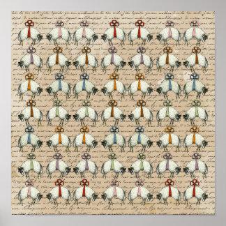 Pretty Bow Sheep ~ Poster 13.25x13.25