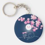 Pretty Cat Cherry Blossoms Moon Pink Sakura Blue Basic Round Button Key Ring
