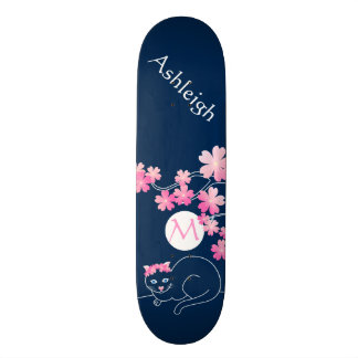 Pretty Cat Cherry Blossoms Moon Pink Sakura Blue Skate Deck