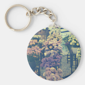 Pretty flowers purple and pink basic round button key ring