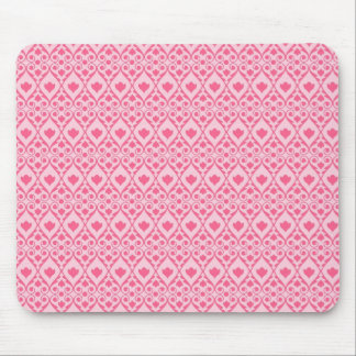 Pretty Hot Pink Flower with Diamond Scroll Pattern Mouse Pad