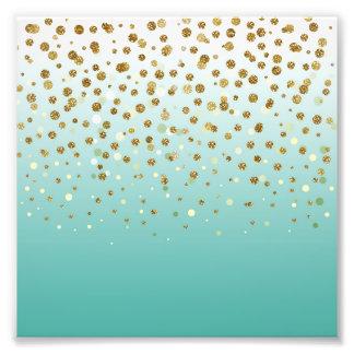 Pretty modern girly faux gold glitter confetti art photo