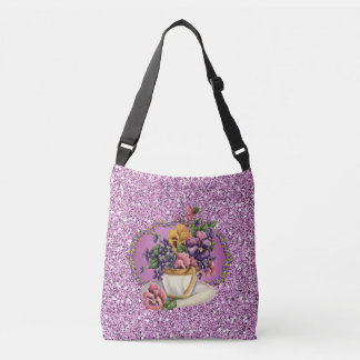 Pretty Pansies in Teacup Lavender Faux Glitter Tote Bag
