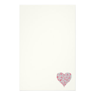 Pretty PInk & Blue Love Flower Heart Stationery