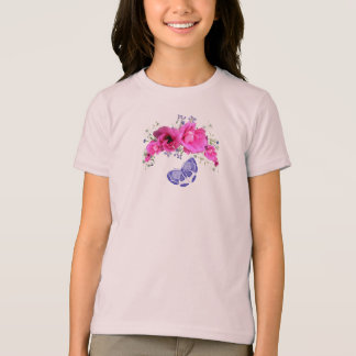 Pretty Pink Flowers T-Shirt with Butterfly