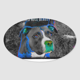 PRETTY PITTIES  WE R FAMILY DOGS TOO! OVAL STICKER
