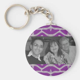 pretty purple white ornate photoframe basic round button key ring