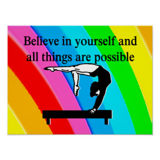 PRETTY RAINBOW INSPIRATIONAL GYMNAST QUOTE POSTER