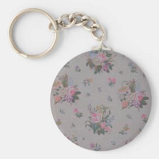 Pretty Vintage Floral Basic Round Button Key Ring