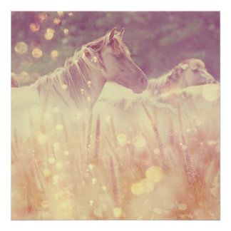 Pretty Wild Mustang Gold Glitter Horse Poster