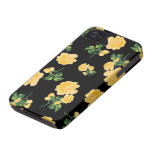 pretty yellow roses iphone 4 case - black
