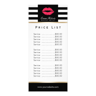 Price List | Makeup Artist Red Lips Modern Stripes Custom Rack Cards