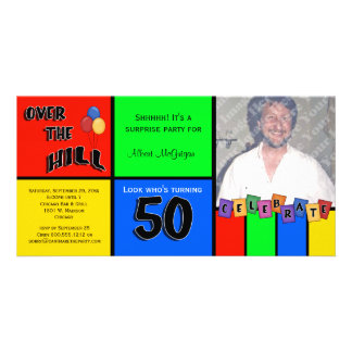 Primary Colors Photo Surprise 50th Birthday Party Customised Photo Card