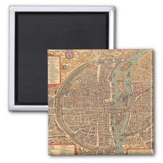 Primitive Antique Map of Paris France Square Magnet