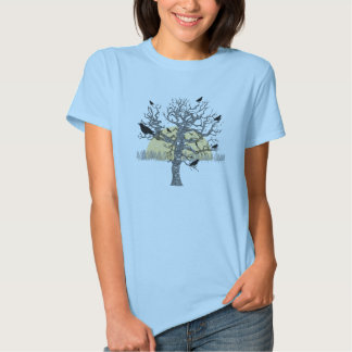 Primitive Crows Autumn Bare Tree Vintage Shirt