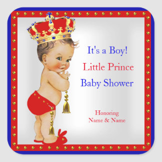Prince Baby Shower Red White Blue Boy Brunette Square Sticker