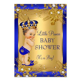 Prince Boy Baby Shower Gold Blue Floral Brunette 13 Cm X 18 Cm Invitation Card