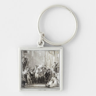 Prince Charles Edward  and the Highlanders Silver-Colored Square Key Ring