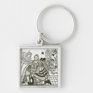 Prince Charles's Welcome Home from Spain, 1623 Silver-Colored Square Key Ring